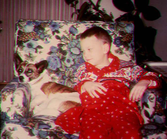 """Randall and """"Honeychild,"""" our first dog."""
